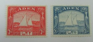 1937 Aden  SC #4-5  Dhows Sailboats   MH stamp set