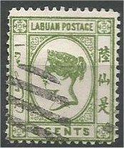 LABUAN, 1892, used 6c, Queen Victoria  Scott 34