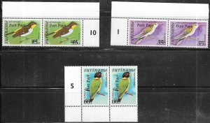 Surinam #C110-C113 Birds numbered pairs -set complete (MNH) CV $10.50