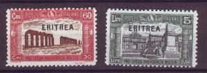 J21244 Jlstamps 1927 eritrea part of set mnh #b18, b20 ovpt,s