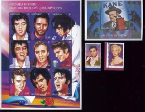 ELVIS PRSLEY, MARLYN MONROE & KANE S/S x2 + Stamps x2 #2468 -71 MNH Grenada E30