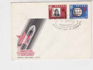 Poland 1961 Man in Rocket + Star Pic Space Slogan Cancel FDC Stamps CoverRf25136