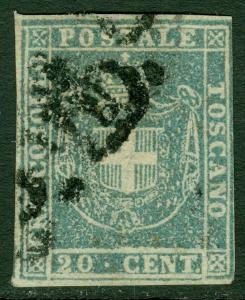 EDW1949SELL : ITALIAN STATES Tuscany 1860 Scott #20b Gray Blue. VF Used Cat $275