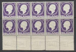 Iceland, Scott 90, MNH block of ten