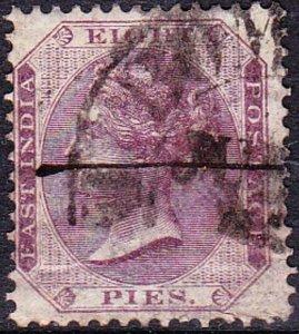 INDIA 1860 QV 8 Pie Purple/White SG52 Used