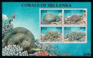 [99597] Sri Lanka 2000 Marine Life Corals Fish Souvenir Sheet MNH