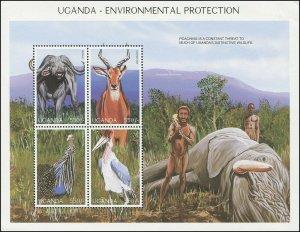 Uganda 1997 Sc 1490 Birds Stork Guinea Buffalo Kob CV $4.25
