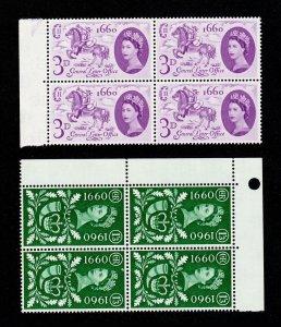 GREAT BRITAIN SCOTT #375-76 BLOCKS OF 4 TERCENTENARY LETTER OFFICE MNH-OG 1960