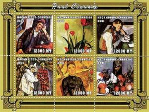 Mozambique MNH S/S Cezanne Paintings 2001 6 Stamps SCV 8.00