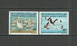 NW0313 IMPERFORATE 1981 MAURITANIA BIRDS PELICANS FLAMINGOS #738-9 RARE SET MNH