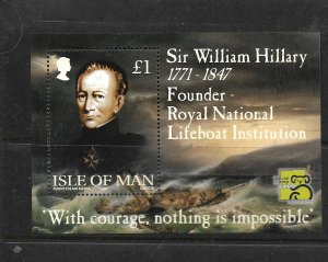 ISLE OF MAN, 823, MNH, SS, SIR WILLIAM HILLARY