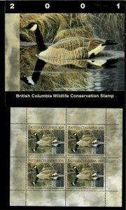 BRITISH COLUMBIA  #7 2001 CANADA GOOSE CONSERVATION STAMP MINI SHEET  IN FOLDER