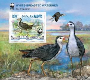 MALDIVES 2013 SHEET WWF WHITE BREASTED WATERHEN BIRDS OISEAUX WILDLIFE mld13101b