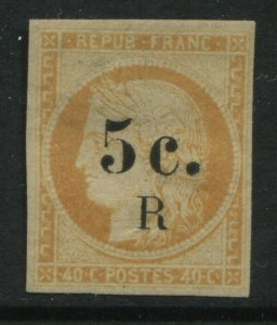 Reunion 1885 5 centimes on 40 centimes orange mint o.g.