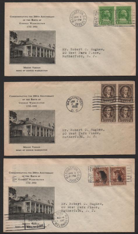 $US Sc#704-715 FDC's full set Rice cachets Washington 1932