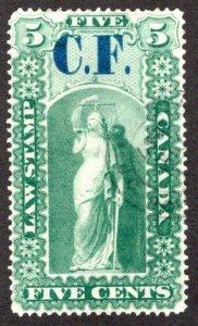 van Dam OL1, 5c used,C.F. (ConsolidatedFund), light handstamp cancel, Ont...