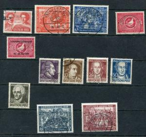 Germany Occ. Soviet Zone 1949 Mi  229-241 Used Complete Year (-1 Stamp And Bl...