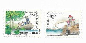 BRAZIL 1991 500TH ANNIV OF DISCOVERY OF AMERICA MAGALLANES ORELLANA 2 VAL MNH