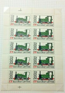 Talyllyn Railway Co.,1969, 1/2d pair Letter Stamps complete sheet. MNH, (TR24)