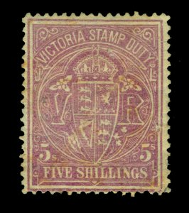 VICTORIA 1879 Stamp Duty  5sh rose carmine  Scott # AR43  unused