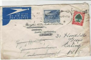 General Sir Francis Reginald Wingate 1947 Airmail S. Africa Stamps Cover R17319