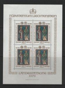 LIECHTENSTEIN 674 Souvenir Sheet, MNH, 1979 Patron Saints of Liechtenstein