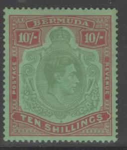BERMUDA SG119a 1939 10/= BLUISH-GREEN & DEEP RED/GREEN p14 MTD MINT