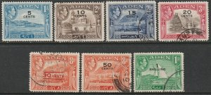 Aden 1951 Sc 36-41,43 partial set mostly used