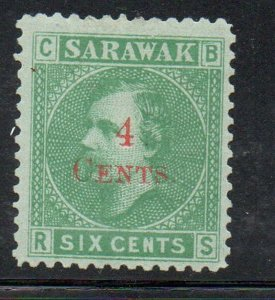 Sarawak Sc 34 1899 4 c on 6c green overprint stamp mint