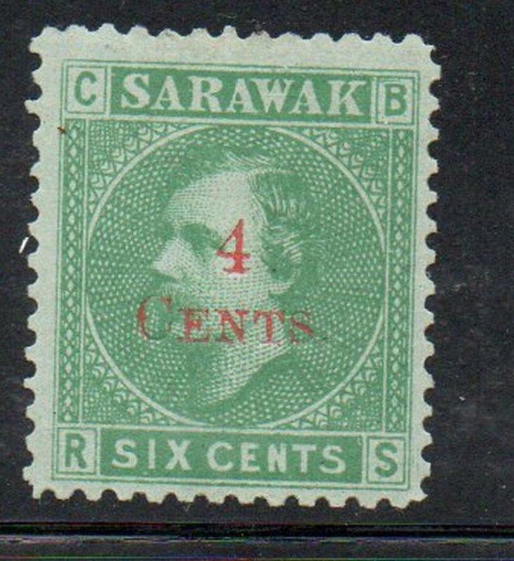 Sarawak Sc 34 1899 4 c on 6c green overprint stamp mint