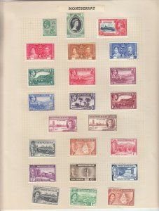 MONTSERRAT ALBUM PAGE  VALUES MOSTLY 1937-55, MOUNTED MINT