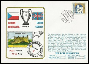 1975 Slovan Bratislava V Derby County European Cup Commemorative First day Cover