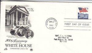 1992, 200th Anniv. White House, Artcraft/PCS, FDC (D15257)