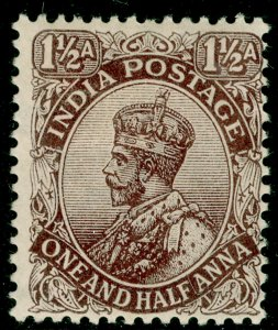 INDIA SG163, 1½a chocolate, M MINT.