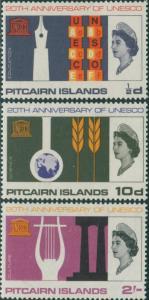 Pitcairn Islands 1966 SG61-63 UNESCO set MLH