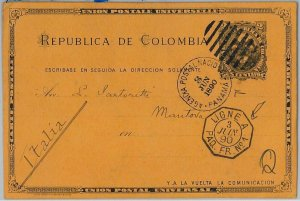 39596 COLOMBIA - POSTAL HISTORY - Stationery Card sent from PANAMA - PAQUEBOT