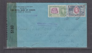 BRITISH HONDURAS, c1942 Censored cover 1c. & 5c., Belize to USA.