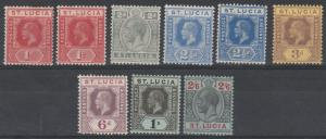 ST LUCIA 1912 KGV RANGE TO 2/6 WMK MULTI CROWN CA