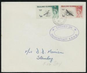 FALKLAND IS 1968 ½d Thrush, 1d Gull cover CARRIED ON / HOVERCRAFT SRN6.....61436