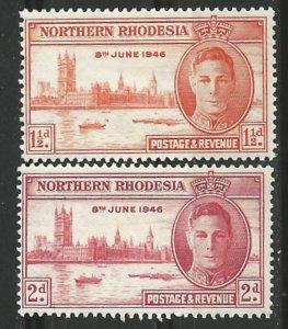 Northern Rhodesia # 46-47  WW II Peace    (2)  Unused VLH