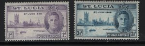 ST. LUCIA 127-128 HINGED  1946 Peace issue