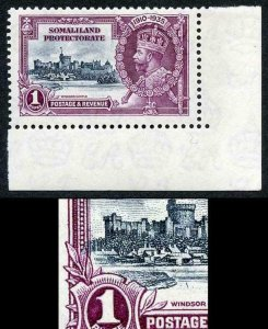 SOMALILAND SG89k 1935 Silver Jubilee 1r showing variety kite and vertical log