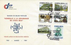 COSTA RICA UNIVERSITY UCR, MEDICAL EDUCATION, Sc C824-C829 FDC 1981