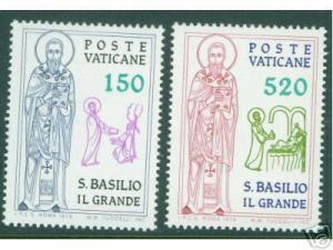 VATICAN Scott 652-3 MNH** 1979 Saint Basilio Set