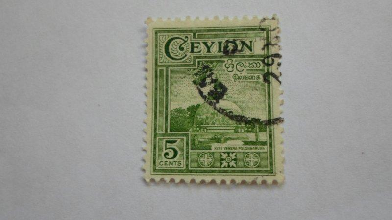 STAMP OF CEYLON USED HINGED SC # 308