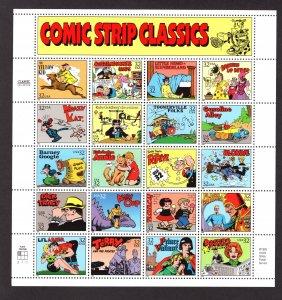 US 3000,  Pane of 20, VF, MNH, Comic Strip Classics, CV $13.00 ..... 6786003