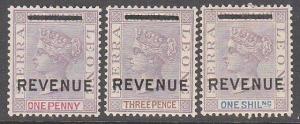 SIERRA LEONE QV Revenue : 1d, 3d & 1/- mint................................87302