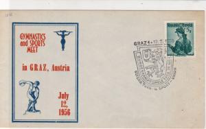 Austria 1956 Gymnastics + Sports Meet Slogan Crest Cancel Stamps Cover ref 22133