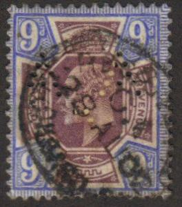 Great Britain #136 used 9p King Edw w A.A. perfin