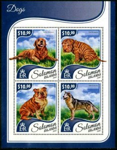 HERRICKSTAMP NEW ISSUES SOLOMON ISLANDS Sc.# 2384 Dogs Sheetlet of 4 Different
